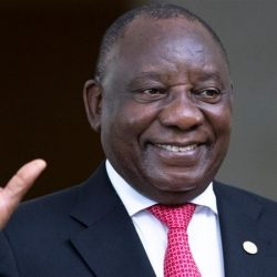 South Africa's President, Cyril Ramaphosa, greets the media prior to the BRICS summit in Brasilia, Brazil on November 14, 2019 (Image by Pavel Golovkin/Reuters)