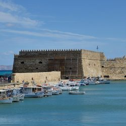The Venetian fortress of Koules/Castello a Mare (1523–1540) guards the inner harbor of Heraklion.