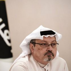 "A general manager of Alarab TV, Jamal Khashoggi, looks on during a press conference in the Bahraini capital Manama, on December 15, 2014. The  pan-Arab satellite news broadcaster owned by billionaire Saudi businessman Alwaleed bin Talal will go on air February 1, promising to ""break the mould"" in a crowded field. (AFP PHOTO/ MOHAMMED AL-SHAIKH (Photo by MOHAMMED AL-SHAIKH / AFP)        (Photo credit should read MOHAMMED AL-SHAIKH/AFP via Getty Images)"