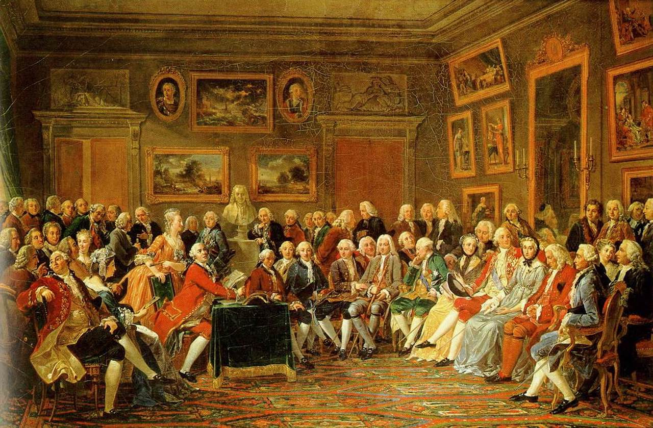 Reading of Voltaire's L'Orphelin de la Chine (a tragedy about Ghengis Khan and his sons, published in 1755), in the salon of Madame Geoffrin (Malmaison, 1812)