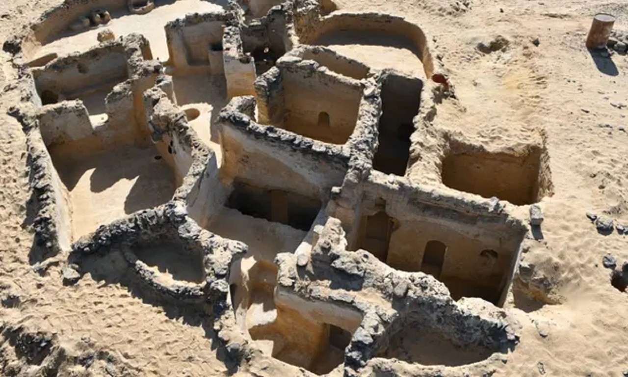 Ancient Christian structures built with basalt rock or carved in the rock face and mudbrick buildings were dated back to between the fourth and seventh centuries AD. (Photograph by The Egyptian Ministry of Antiquities/AFP/Getty Images)